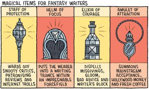 Cartoon by Tom Gauld / Guardian newspaper / Magical Items for Fantasy Writers